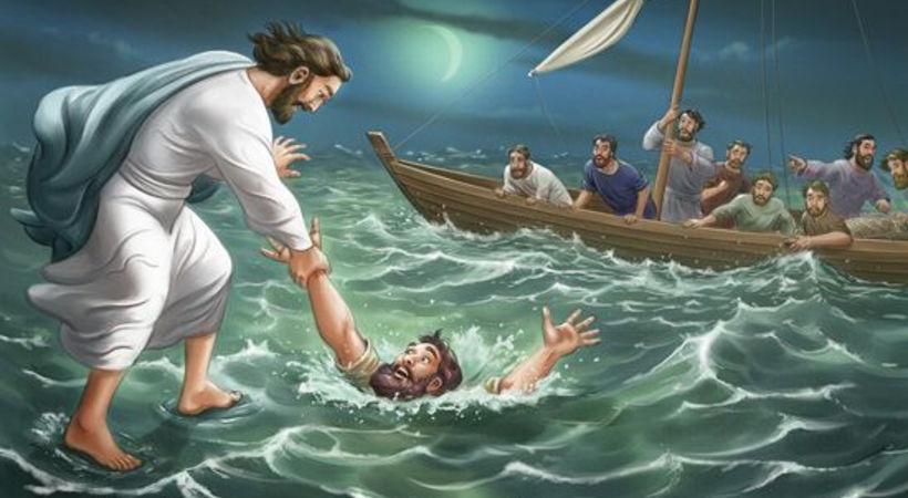 Jesus og Peter går på vannet (Matteus 14,22-34)
